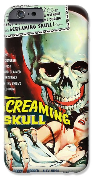 1950s Movies Mixed Media iPhone Cases - Screaming Skull Movie Poster 1958 iPhone Case by Mountain Dreams