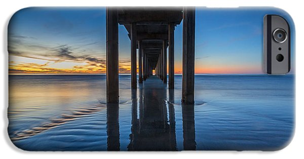 La Jolla Surfers iPhone Cases - Scripps Pier Blue Hour iPhone Case by Peter Tellone