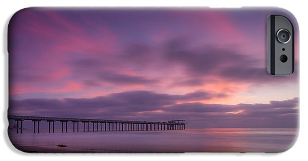 La Jolla Surfers iPhone Cases - Scripps Pier Colors iPhone Case by Peter Tellone