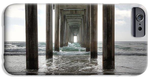 California Beach iPhone Cases - Scripps Pier iPhone Case by Eddie Yerkish