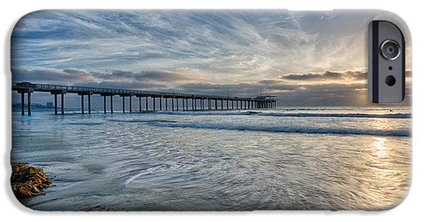 La Jolla Surfers iPhone Cases - Scripps Pier Sky and Motion iPhone Case by Peter Tellone