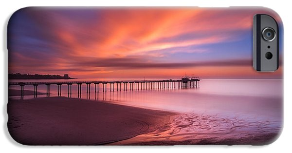 Recently Sold -  - Sea iPhone Cases - Scripps Pier Sunset iPhone Case by Larry Marshall
