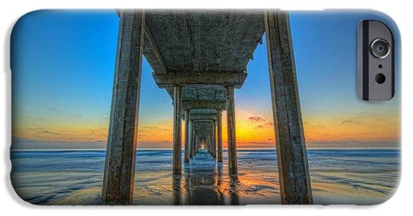 Michael Versprill iPhone Cases - Scripps Pier Sunset iPhone Case by Michael Ver Sprill