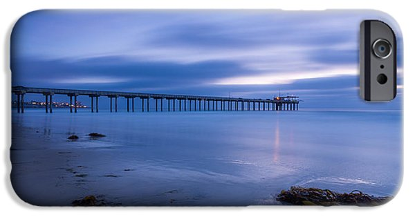 La Jolla Surfers iPhone Cases - Scripps Pier Twilight - Color iPhone Case by Peter Tellone