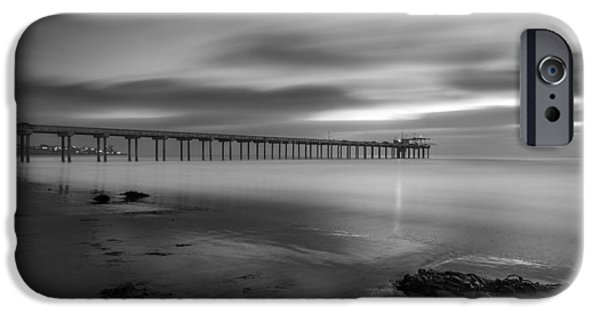 La Jolla Surfers iPhone Cases - Scripps Pier Twilight - Black and White iPhone Case by Peter Tellone