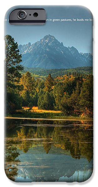 Scripture and Picture Psalm 23 iPhone Case by Ken Smith