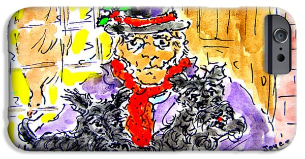 Scrooge iPhone Cases - Scrooge and scotties iPhone Case by Joyce  Kenney