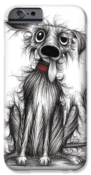 Dirty Drawings iPhone Cases - Scruffy tail iPhone Case by Keith Mills