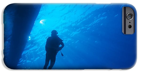 Marine iPhone Cases - Scuba Diver with Sun Rays  iPhone Case by Rostislav Ageev