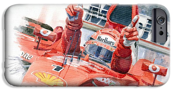 Ferrari Watercolor iPhone Cases - Scuderia Ferrari Marlboro F 2001 Ferrari 050 M Schumacher  iPhone Case by Yuriy  Shevchuk