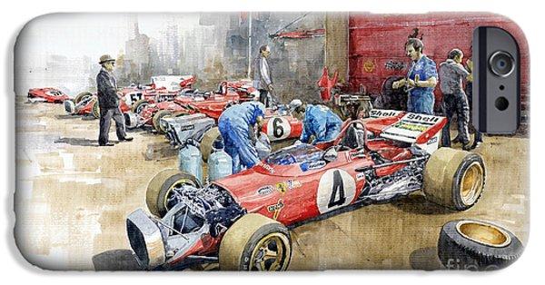 Ferrari iPhone Cases - Scuderia Ferrari Paddock Spanish GP 1971 Ferrari 312B2  iPhone Case by Yuriy Shevchuk