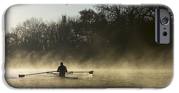 Canoe iPhone Cases - Sculling In Mist On River Thames_ iPhone Case by Charles Bowman