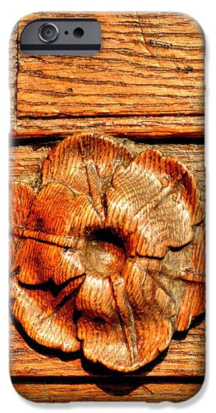 Redish iPhone Cases - Sculpted Ornament in an Oakwood Door iPhone Case by Ion vincent DAnu