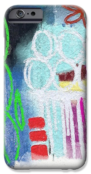 Street Mixed Media iPhone Cases - Sculpture Garden- Abstract Art iPhone Case by Linda Woods