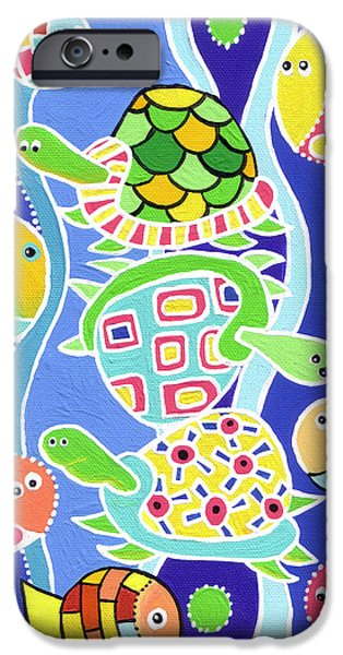 Ocean Turtle Paintings iPhone Cases - Sea Creatures iPhone Case by Lynnda Rakos