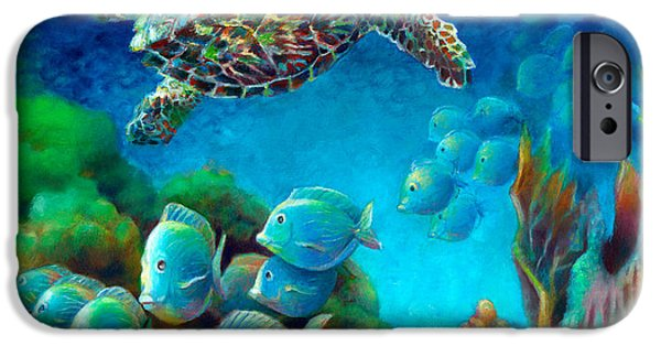 Ocean Turtle Paintings iPhone Cases - Sea eScape III - Hawksbill Gemstone Turtle iPhone Case by Nancy Tilles