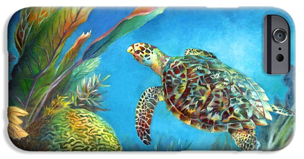 Ocean Turtle Paintings iPhone Cases - Sea eScape IV - Hawksbill Turtle Flying Free iPhone Case by Nancy Tilles