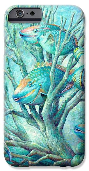 Brain Paintings iPhone Cases - Sea Folk II - Parrot Fish iPhone Case by Nancy Tilles