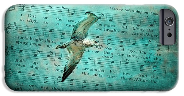 Flying Seagull Mixed Media iPhone Cases - Sea Gull iPhone Case by Linda Muir