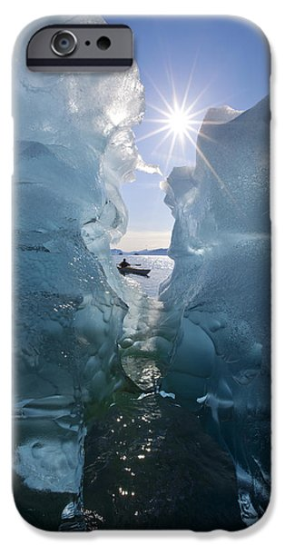 Tongass iPhone Cases - Sea Kayaker Views Large Icebergs In iPhone Case by John Hyde