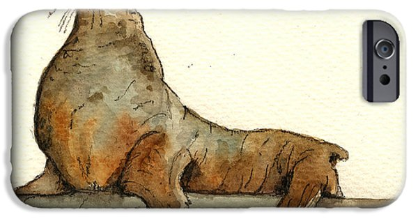 Sea Lions iPhone Cases - Sea lion iPhone Case by Juan  Bosco