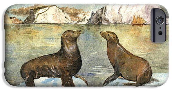 Sea Lions iPhone Cases - Sea lions iPhone Case by Juan  Bosco