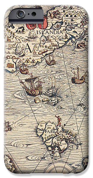 Ocean Drawings iPhone Cases - Sea Map by Olaus Magnus iPhone Case by Olaus Magnus