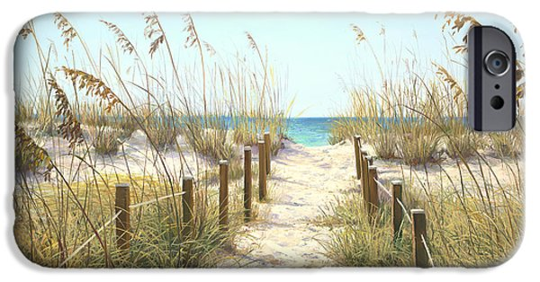 Beach Landscape iPhone Cases - Sea Oat Path iPhone Case by Laurie Hein