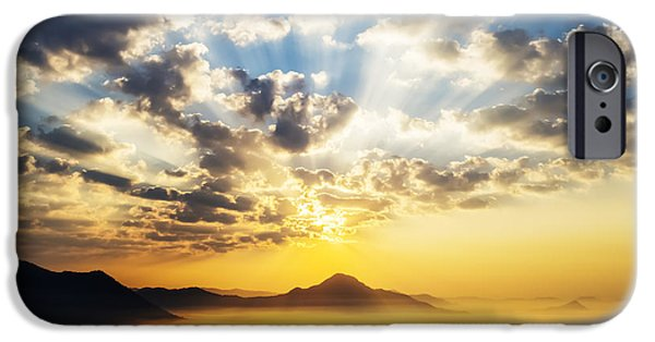 Thailand iPhone Cases - Sea of clouds on sunrise with ray lighting iPhone Case by Setsiri Silapasuwanchai