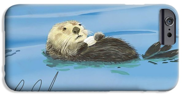 Otter Digital Art iPhone Cases - Sea Otter - Drawn on an iPad iPhone Case by Ray Cassel