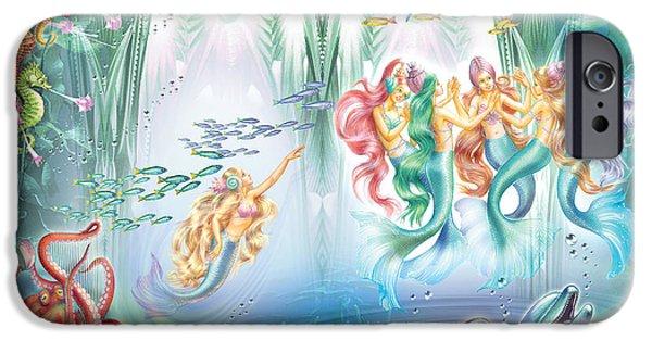 Sea iPhone Cases - Sea Palace Ballroom iPhone Case by Zorina Baldescu