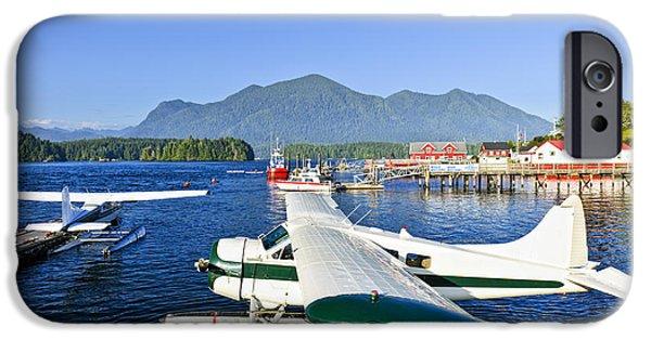 Bc Coast iPhone Cases - Sea planes at dock in Tofino iPhone Case by Elena Elisseeva