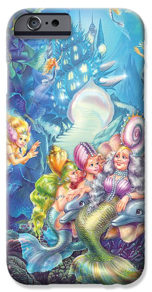 Sea iPhone Cases - Sea Queen And Little Princesses iPhone Case by Zorina Baldescu
