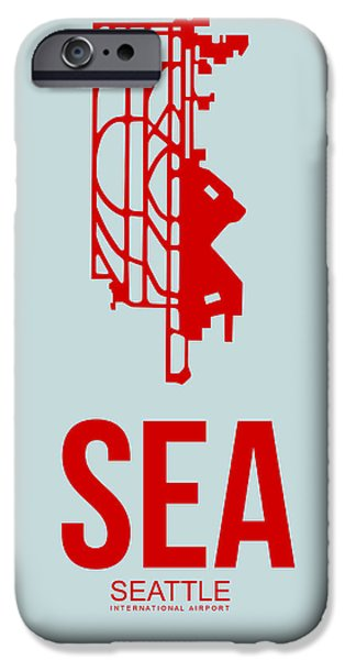 Town Mixed Media iPhone Cases - SEA Seattle Airport Poster 1 iPhone Case by Naxart Studio