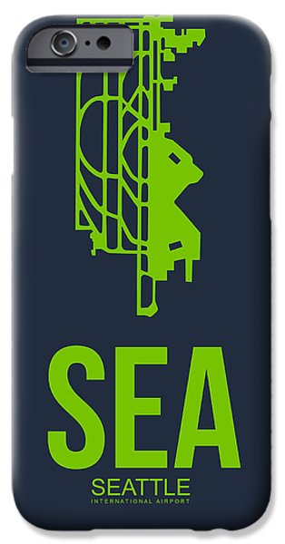 Seattle iPhone Cases - SEA Seattle Airport Poster 2 iPhone Case by Naxart Studio