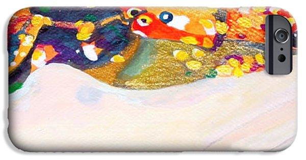 Serpent Mixed Media iPhone Cases - sea serpent III after Gustav Klimt iPhone Case by Anna Porter
