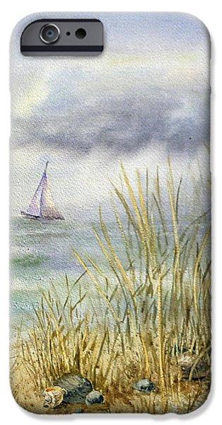 Sailboat Ocean iPhone Cases - Sea Shore iPhone Case by Irina Sztukowski