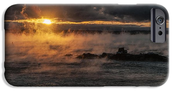 Quoddy Head State Park iPhone Cases - Sea Smoke Sunrise iPhone Case by Marty Saccone