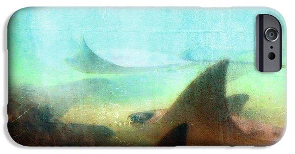 Angling iPhone Cases - Sea Spirits - Manta Ray Art by Sharon Cummings iPhone Case by Sharon Cummings