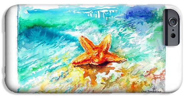 Fauna iPhone Cases - Sea Star iPhone Case by Lina Tumarkina