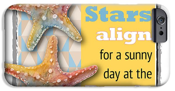 Sea iPhone Cases - Sea Stars align for a sunny day at the Beach. iPhone Case by Amy Kirkpatrick