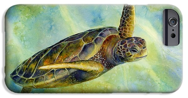 Ocean Turtle Paintings iPhone Cases - Sea Turtle 2 iPhone Case by Hailey E Herrera
