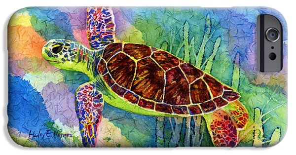 Flight Paintings iPhone Cases - Sea Turtle iPhone Case by Hailey E Herrera
