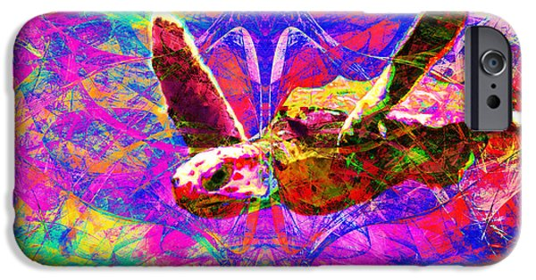 Reptiles Digital iPhone Cases - Sea Turtle In Abstract v3 iPhone Case by Wingsdomain Art and Photography