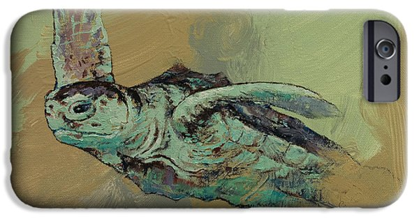 Ocean Turtle Paintings iPhone Cases - Sea Turtle iPhone Case by Michael Creese