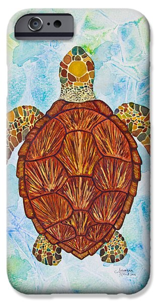 Ocean Turtle Paintings iPhone Cases - Sea Turtle Mosaic iPhone Case by Alexandra Nicole Newton