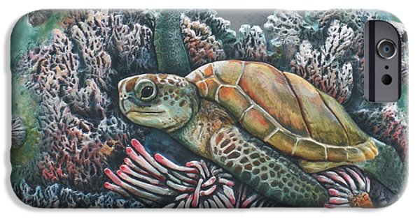Sea Ceramics iPhone Cases - Sea Turtle iPhone Case by Tod Locke