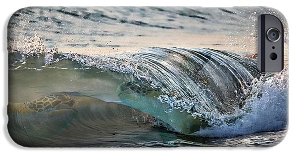 Casey Digital iPhone Cases - Sea Turtles In The Waves iPhone Case by Barbara Chichester