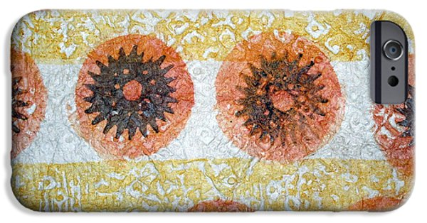 Abstracts Tapestries - Textiles iPhone Cases - Sea Urchin Kapa iPhone Case by Dalani Tanahy