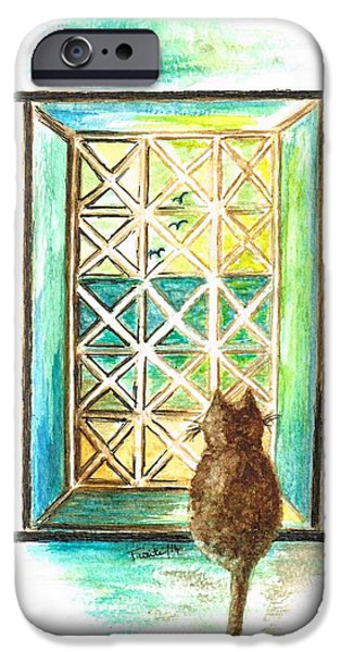 Ledge Mixed Media iPhone Cases -  Curiosity  Cat iPhone Case by Teresa White